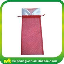 Wholesale good quality decorative drawstring organza wine bottle bag