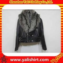 2014 hot sale high quality bulk plain cheap fur collar black winter custom leather jackets