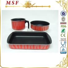 MSF 14cm 20cm 30cm non stick coating interior round and square pan press aluminum kitchen utensil
