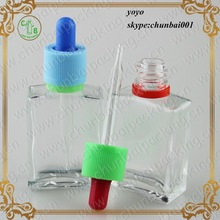 ISO8317 childproof tamper dropper!clear 30ml glass bottles,rectangle French fresh square glass beverage bottle