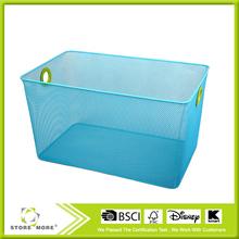 Big Blue Wrought Iron Mesh Cube Bin STORE MORE Storage Bins