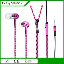 Hot sale beautiful in-ear wired mono metal zipper earbuds