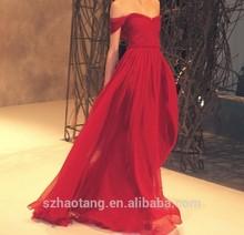Hot Selling 2015 Off Shoulder Red A-line Chiffon Evening Dress Evening Gown Dance Dress Party Dress J