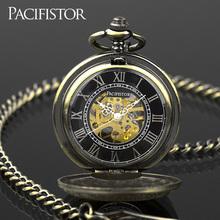 Infantry Antique Promotional Men's Skeleton Chainn Pocket Watch