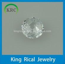 5mm 6mm 7mm round checkerboard cut white cubic zirconia gemstone
