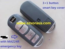 High quality 4 button smart key case cover for mazda car key casing with MAZ24R emergency key
