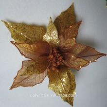 "2015 new arrivial 9.5"" shinny poinsettia Christmas decoration Flowers"