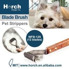 Dog Cat with Wooden Handle DeShedding Tool Undercoat Rake Brush