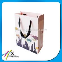 custom printing C2S art paper bag with ribbon