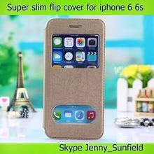 Cell phone case Super slim window view leather flip case for iphone 6 plus, for iphone 6 case flip ,for iphone 6 plus cover
