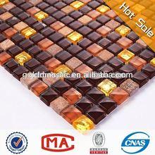 dark brown crystal gold glass and tawny stone wall marble mosaic bathroom set