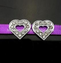 10mm rhinestone heart slide charm for pet collar