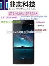 "ZTE Nubia Z7 max lte 4G FDD smart phone Qualcomm MSM8974AC 2.5GHz 5.5"" FHD 1920x1080 2GB RAM 32GB 13.0MP Dual SIM NFC 3100mAh"