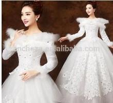 Z54014A 2014 NEWEST HOT SALE WEDDING BRIDE WHITE WINTER DRESSES