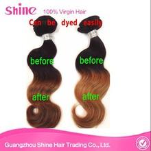 Hotsale Body Wave Virgin Brazilian Human Hair Two Tone Colors 1b/yellow Brazilian Ombre Hair Extensions