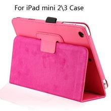 Magnetic PU Leather Folio Stand Case Cover with Stylus Holder for iPad mini 2\3
