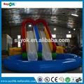 2014 novo design corrediça inflável de alta qualidade gigante escorrega inflável com piscina para venda