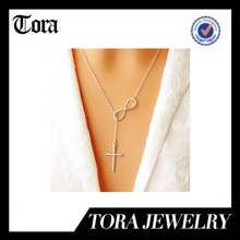 fashion hot sell silver cross and infinity necklace silver plated necklace