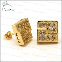 real gold hip hop micropave earrings screw back