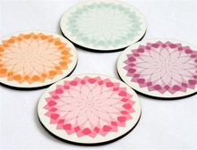 2015 round wooden Pastel aqua pink coasters made in China