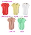 Yeni kadın rahat ince ön oymak şifon bluz eski o- boyun gömlek bluz Batwing kollu 5 renk sv000441#