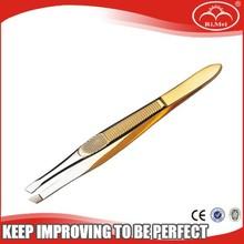 Gold Slanted Tweezers , professional slanted eyebrow tweezer