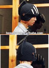 Buttons Crochet Knit Black Ski Beanie Wool Roman Knight Hat Mask Cap Warm Headwear