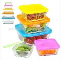 Set of 10PCS glass bowl, 5PCS glass square bowl, 5PCS PP lids