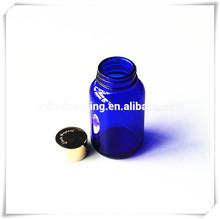 blue pharmaceutical bottle for pill/wide mouth glass bottle