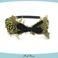 The new high-end fashion feathers hair accessories of lady black flower plastic headband