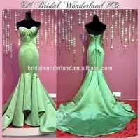 Sweetheart draped bodice lime green wedding dress