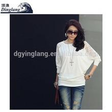 Fashion women's clothing joker bat sleeve lace stitching long sleeve knitted T-shirt women T shirt