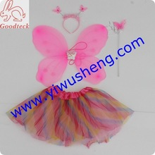 fashion rainbow tutu with hot pink butterfly wings for goodteck