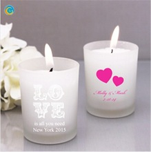 View detailed images (4) Design MotifImprint ColorLayoutRustic Style Personalozed Frosted Glass Candle Favor PreviousPrevious