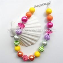 rainbow necklace for kids/girls jewelry decoration acrylic bead chunky jewelry necklace