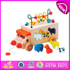 Educational toy Pull and push toy for kids,wooden toy diy toy for children,String bead toy wooden block toy for baby W05B074