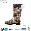 la moda de piel de serpiente de impresión señora de la lluvia de arranque con negro hebilla