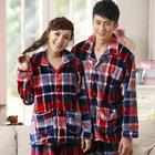 Couple Sleepwear Set Adult Onesie Pajamas plaid Flannel Pajamas