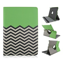 Green Wave Pattern Rotate PU Leather Tablet PC Protect Cover Case For Apple iPad Air 2/ipad 6
