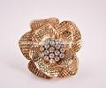 2015 mais recente best liga de ouro anel de diamante anel de flor de diamante