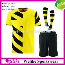 2015 Dortmund home yellow soccer jersey thai quality short sock soccer jersey kit wholesale new club grade ariginal shirt set