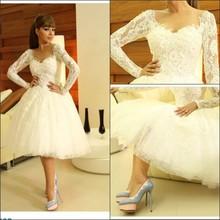 Amazing Sheer Long Sleeve vestido de festa Knee Length Myriam Fares Celebrity Dress Lace Ball Gown Cocktail Dresses 2014