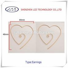 Double heart spiral ear hanging stud earrings