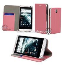 cute case for HTC Desire 610 cover case ,book folio leather case for HTC Desire 610 mobile phone case, pink