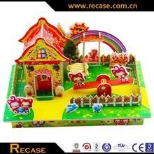 Promotional Kids DIY Toys, Funny 3D Model House Puzzle, intelligent puzzle