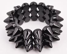 Fashion big black rivet elastic Plastic Bangles