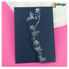 Blue 3D decorating folder wedding invitation card wholesale