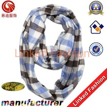 fashion Tartan plaid acrylic knitted infinity scarf delivery within 3 working days