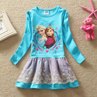 (LD0535#A) 3-8Y Nova kids new winter long sleeve frozen anna elsas girl frock dress