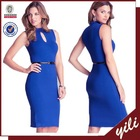 2015 new fashion keyhole sleeveless midi pictures office dress for ladies